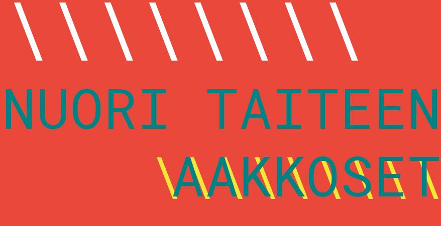 Punaisella taustalla vihertävällä teksti: Nuori taiteen aakkoset. Yläreunassa valkoisia vinoviivoja. Alareunassa keltaisia vinoviivoja aakkoset-sanan alla.