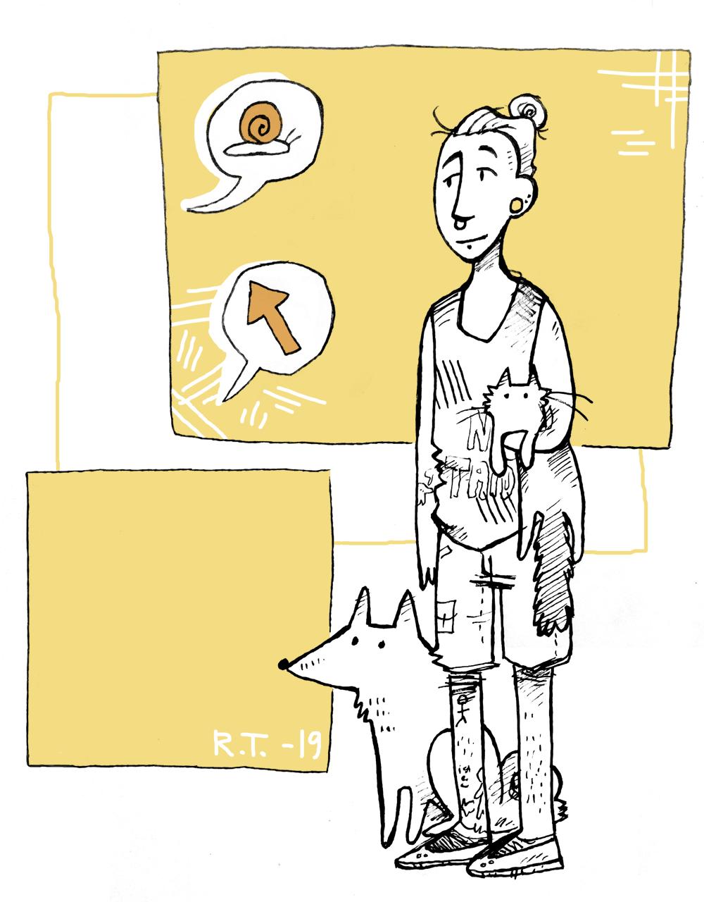 Piirretty hahmo jolla on kissa kainalossaan ja koira vierellään seisoo etualalla. Takana kaksi oranssia neliötä joista ylimmäisessä etanan ja nuolen kuvat valkoisissa puhekuplissa.