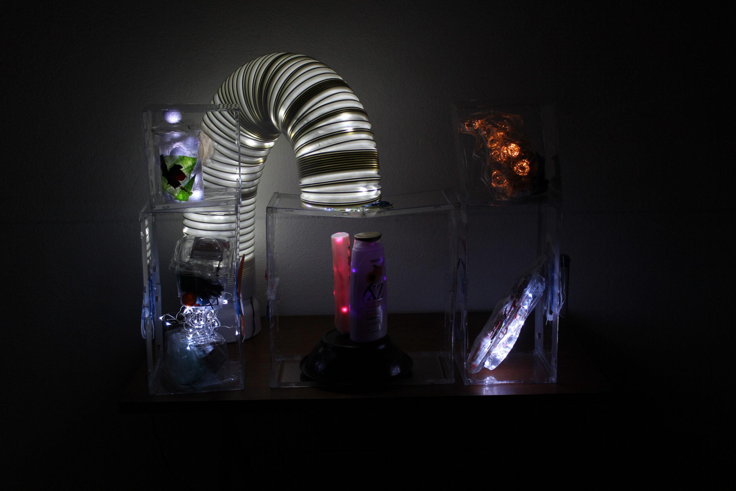 Veistos, joka on tehny kierrätetystä muoviroskasta ja led-valoista
