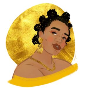 A portrait of a person with a big earrings