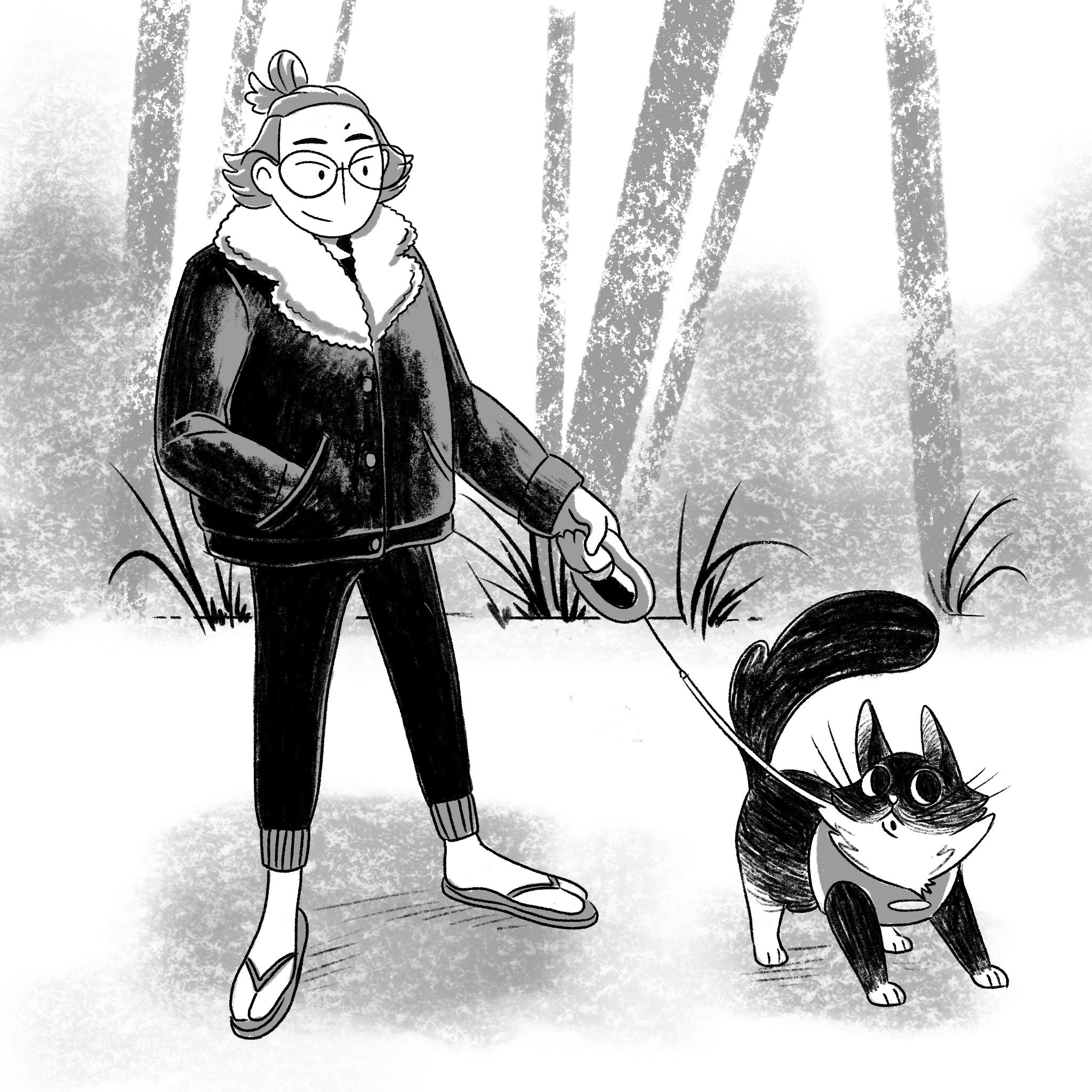 Kuvitus henkilöstä, joka ulkoiluttaa kissaa